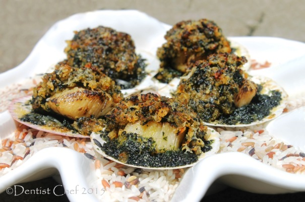 recipe baked scallops rockefeller gratin spinach breadcrumbs butter parsley basil puree