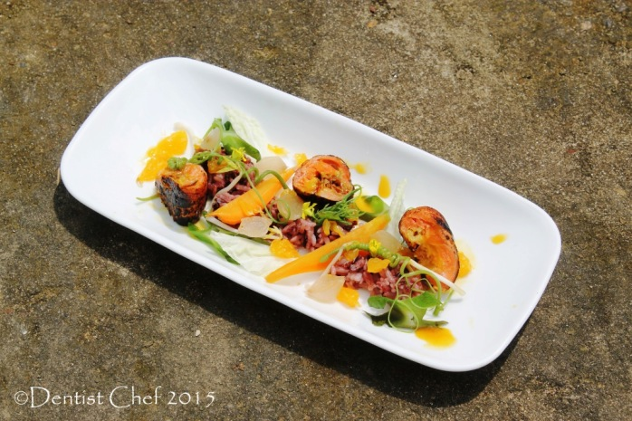 recipe salmon sous vide orange lemon sauce black rice salad sous vide carrot pan seared trout fillet tofu curd