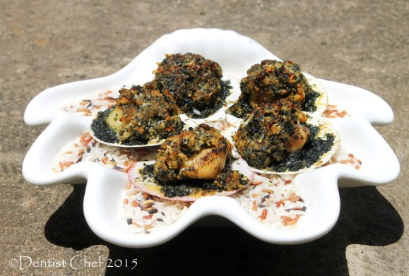 recipe scallop rockefeller spinach cheese gratin baked with parsley basil butter breadcrumbs topping