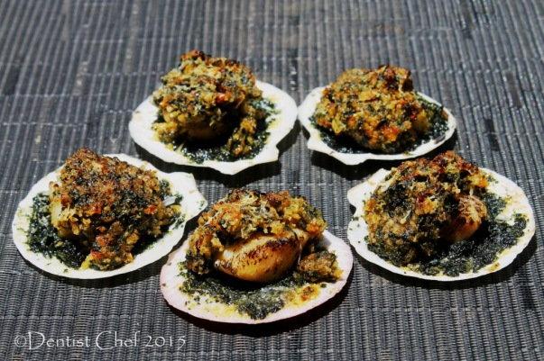 recipe scallops rockefeller baked half shell gratin cheese spinach butter chili basil parsley breadcrumbs