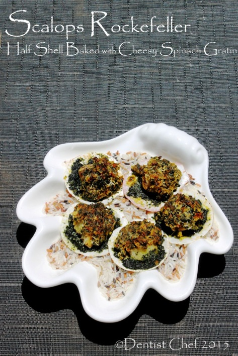 recipe scallops rockefeller half shell baked cheese spinach butter breadcrumbs basil parsley
