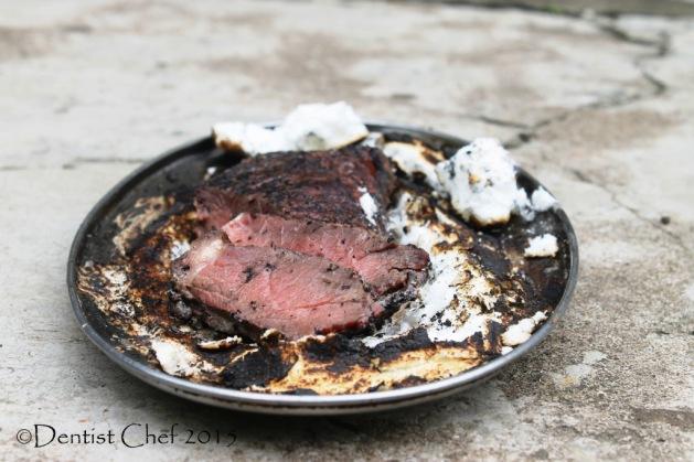 roasted beef herbs salt crust tender moist sirloin striploin beef oven baked on salt meringue