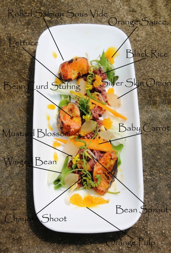 salmon sous vide lemon orange sauce red rice salad winged bean chayote shoot mustard blossom silover skin onion baby carrot