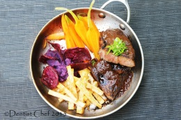 Recipe Veal Sirloin Steak Sous Vide with Spicy Beef Rendang Sauce, Mashed Sweet Potato,  Taro French Fries, Yam Chips & Sous VideCarrot