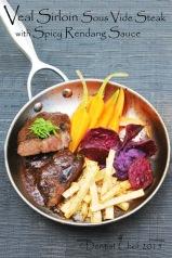 veal striploin steak sous vide calf sirloin young beef steak