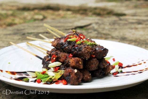 beef satay tamarind glazed beef tenderloin marinated soy sauce sate daging sapi kecap manis palembang