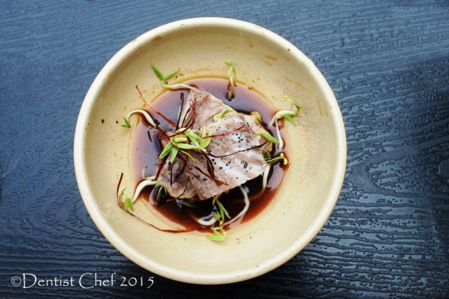 cold wagyu beef slow cooked sous vide ponzu sauce kombu kobe beef appetizer