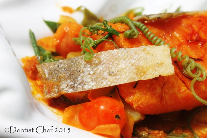 crispy salmon skin fried crackling trout fish skin sous vide salmon saffron curry