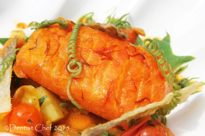 recipe curried salmon sous vide saffron indian coconut milk chayote shoots tomato broth slow cooked trout salmon fillet