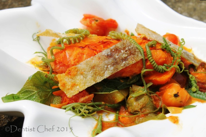recipe salmon curry saffron coconut cream sous vide trout fish fillet chayote pumpkin shoots recipe