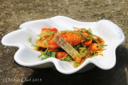 Salmon Marinated in Saffron Curry (Sous Vide) Served with Sayur Lodeh Pedas (Indonesian Spicy Vegetables Curry)