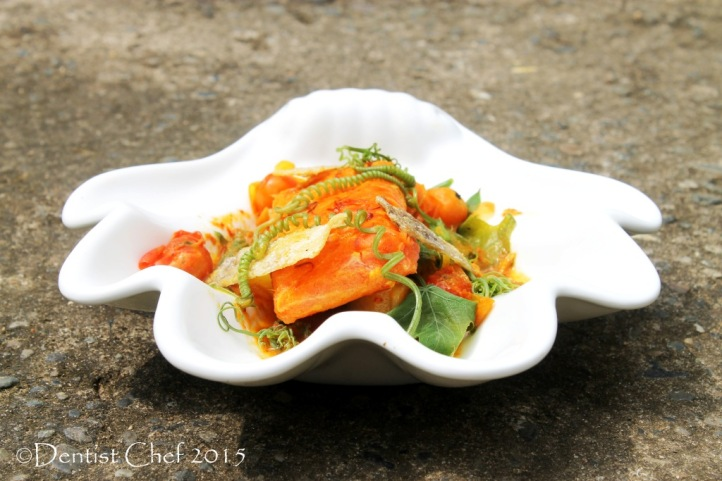 salmon fillet curry saffron recipe chayote shoots sayur lodeh pumpkin