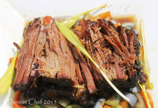 Beef Confit tender meat brisket slow cooked in duck fat oil