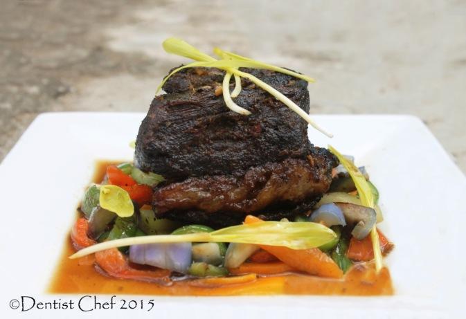 Confit Beef Brisket recipe poitrine de boeuf gravy sauce sauteed begetables using rice cooker