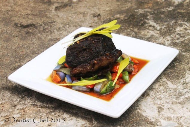 how to confit beef brisket de boeuf confit with duck fat oil served with spring vegtables gravy