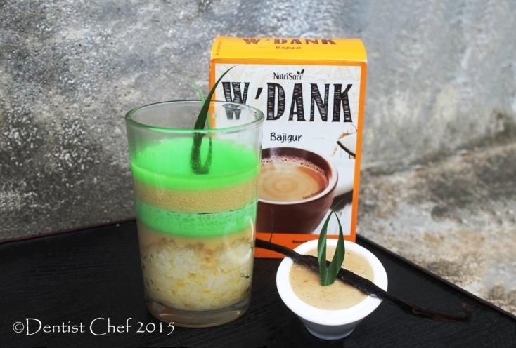 ketan srikaya sticky rice topped coconut milk custard pandan wedang bajigur vanilla fla sauce w'dank nutrisari