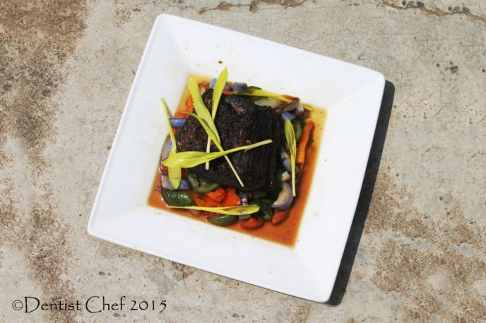 recipe confit beef brisket popcorn shoots microgreen yellow sweet corn sauteed vegetables gravy