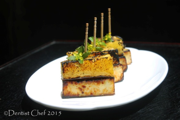 appetizer haloumi cheese grilled pinneaple charred