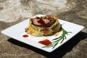 beef wellington gravy brown sauce boeuf encroute porcini mushrooms chanterelle prosciutto foie gras