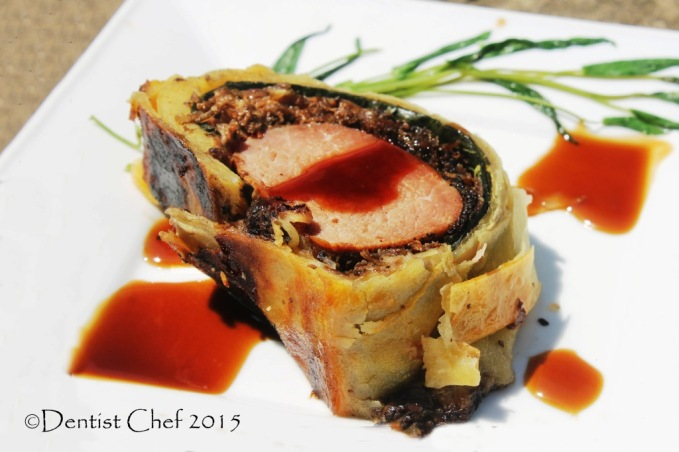 Beef Wellington Puff Pastry Wrapped Beef Tenderloin Filet Mushrooms Prosciutto Foie gras boeuen croute chanterelle porcini cepes