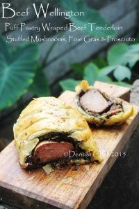 beef wellington puff pastry wrapped beef tenderloin stuffed mushrooms foie gras spinach prosciutto boeuf en croute