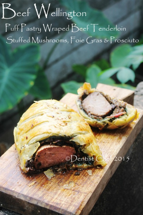beef wellington puff pastry wrapped beef tenderloin stuffed mushrooms foie gras spinach prosciutto boeuf en croute