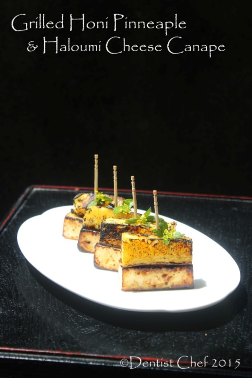 grilled haloumi cheese pinneaple canape