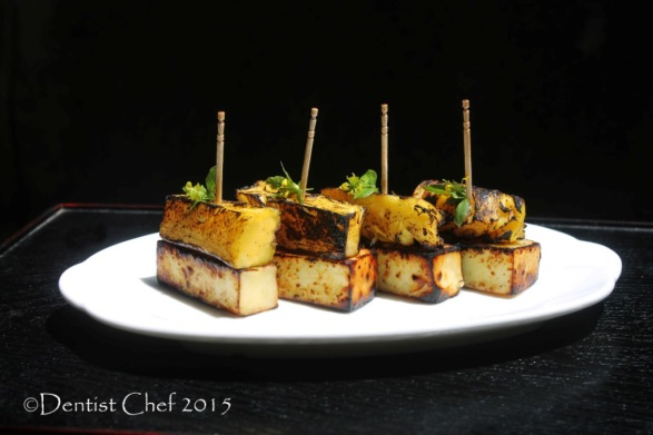 haloumi cheese pinneaple grilled appetizer