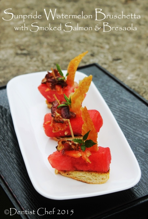 smoked salmon bruschetta watermelon bacon cheese crisp
