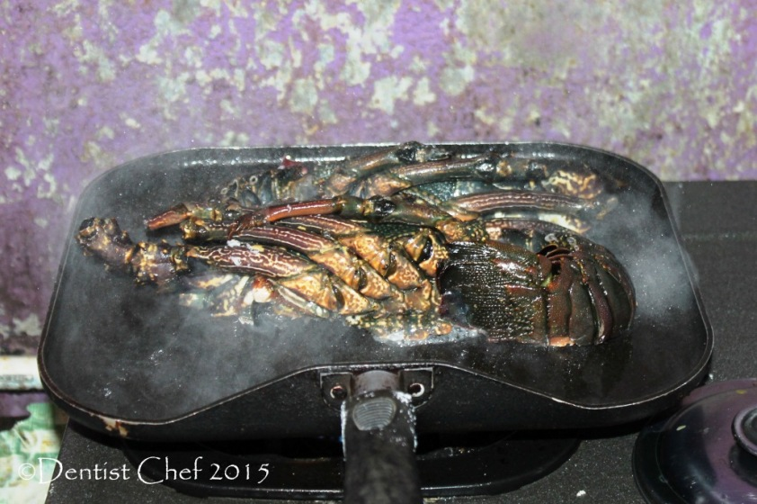 lobster pan fried grilled crayfish