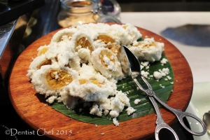 pisang rai bali banana wrapped in rice flour dessicated coconut signatures restaurant Kempinski hotel indonesia jakarta